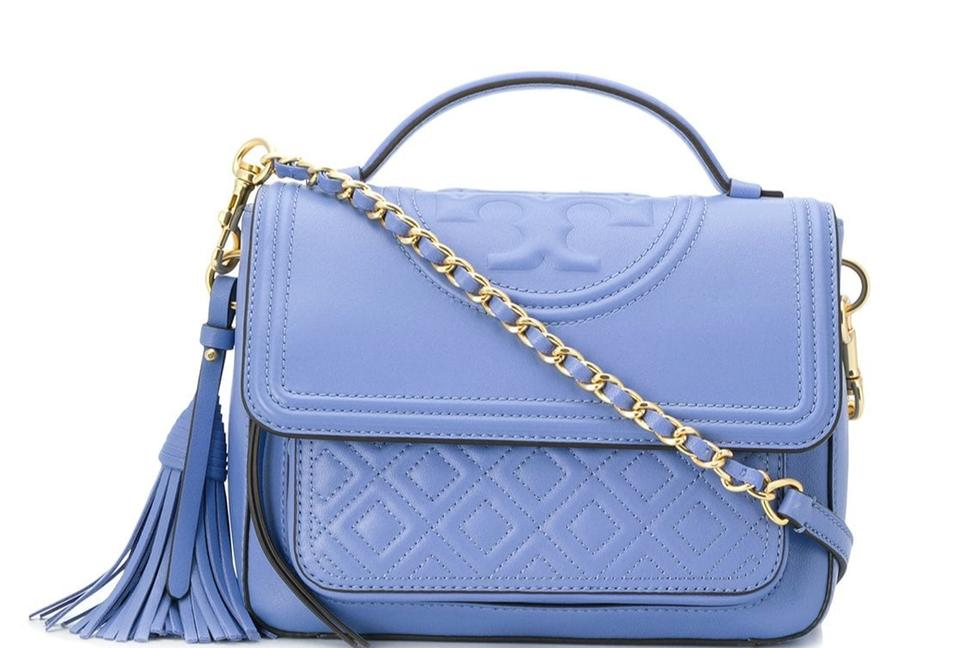 f42f5926ff5 Tory Burch Fleming Satchel Larkspur Blue Quilted Leather Cross Body ...