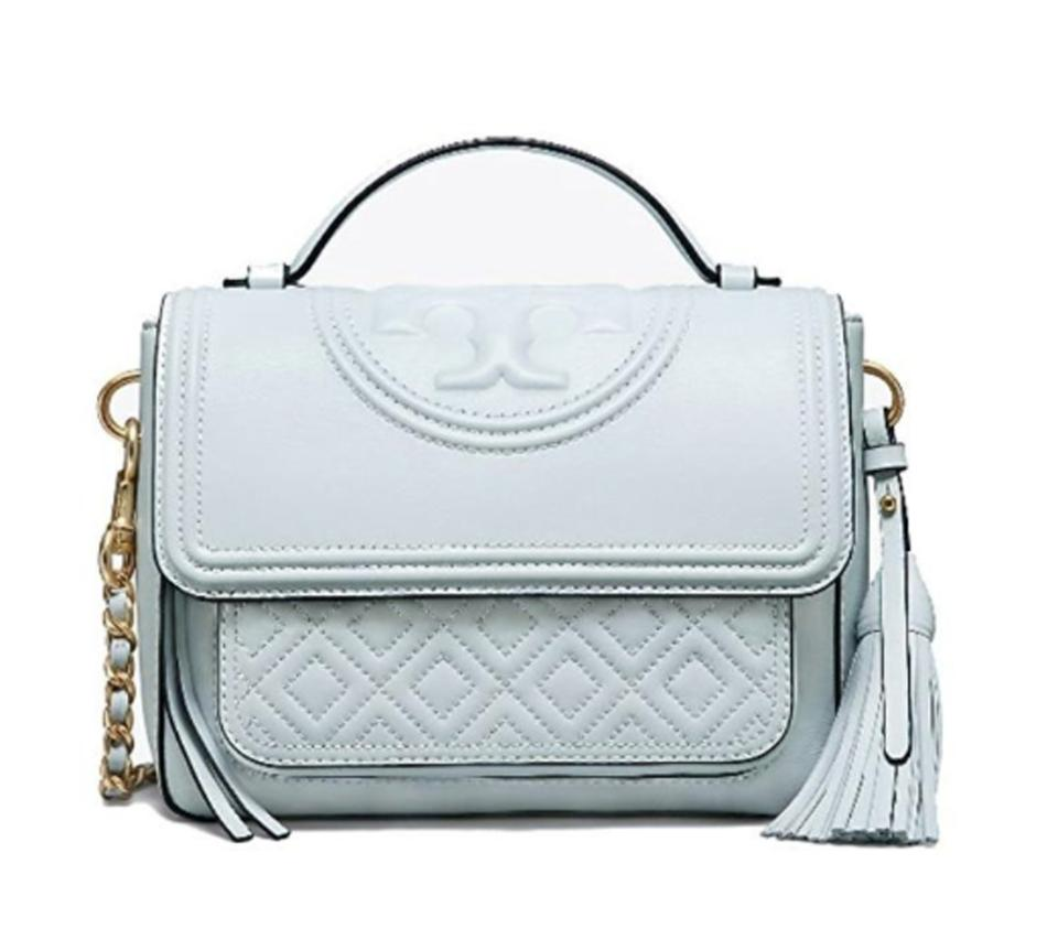 4efec8651e99 Tory Burch Fleming Satchel Seltzer Blue Quilted Leather Cross Body ...