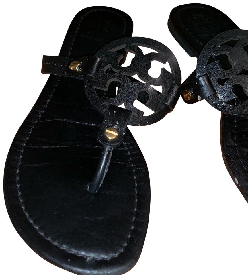 388b23b6e Tory Burch Black Miller Medallion Patent Leather Flat Thong Sandals ...