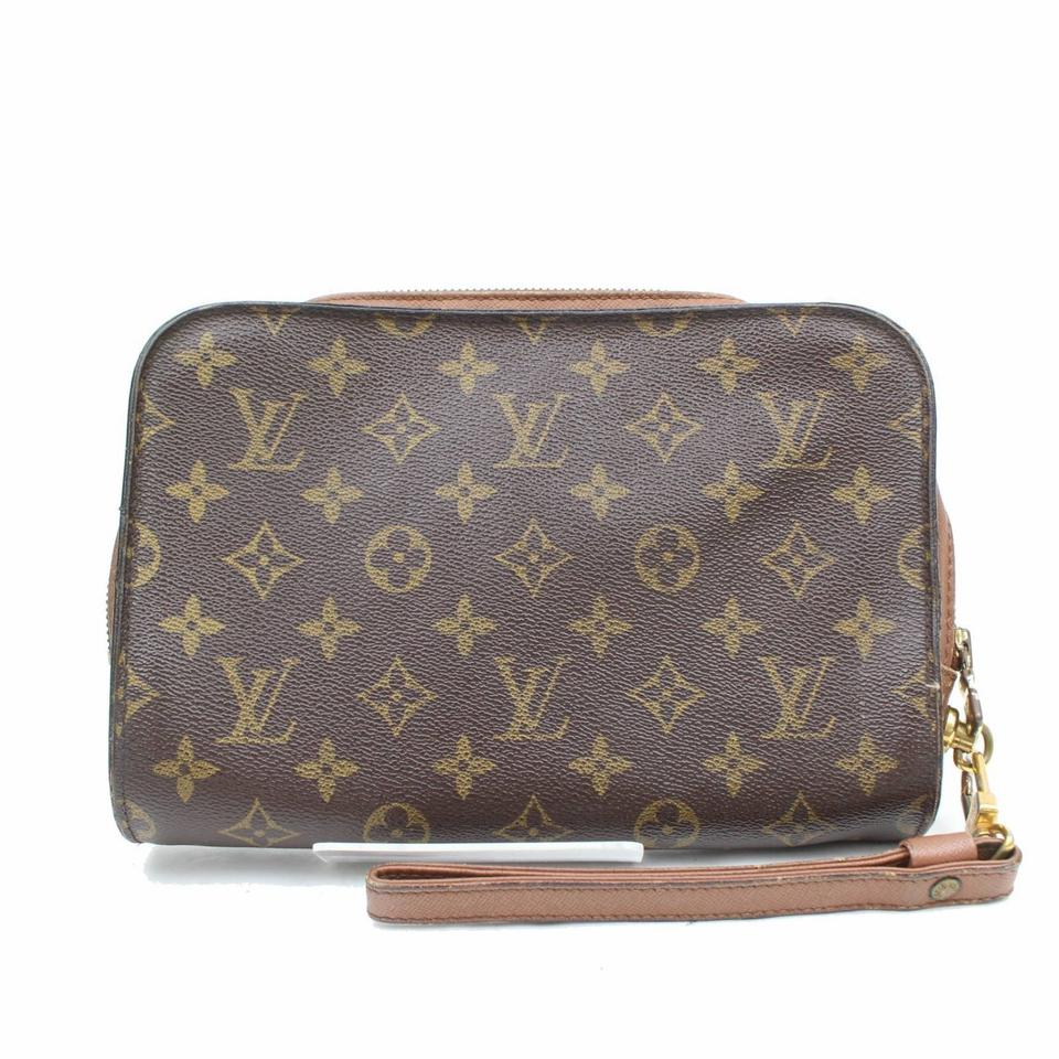 6b0f92fb34f3 Louis Vuitton Orsay Monogram Zip Wristlet 869187 Brown Coated Canvas Clutch