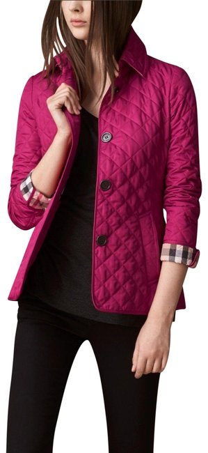 Item - Pink Deep Fuchsia Copford Diamond Quilted Check Coat Jacket Size 8 (M)