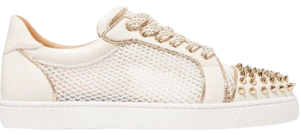 official photos 857e9 3180b Christian Louboutin White Ac Vieira Spikes Latte Gold Net Flat Lace Up Tie  Low Top Sneakers Size EU 40 (Approx. US 10) Regular (M, B)