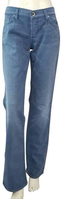 Item - Blue Distressed Wash Slightly Embroidered Pocket Boot Cut Jeans Size 30 (6, M)