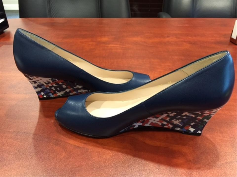 8fc7329ed80 L.K. Bennett Navy Zoey Wedges Size US 7.5 Regular (M