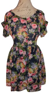 Forever 21 short dress Blue, Colorful Flowers Sheer Top Lined Skirt on Tradesy
