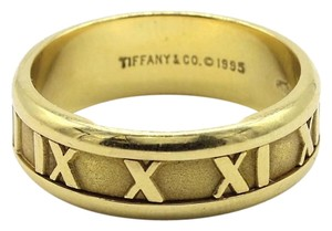 Tiffany & Co. Atlas 18k Yellow Gold Roman Numeral 7mm Band Ring Size 9.25