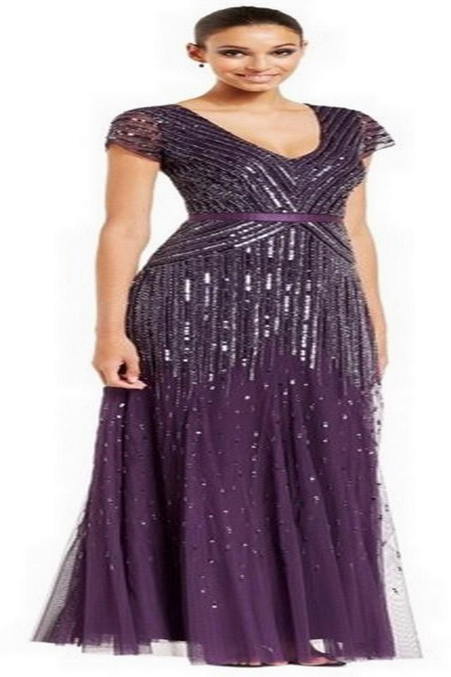 c9880c128e1 Adrianna Papell Amethyst Polester V-neck Long Beaded Gown Modern Bridesmaid/Mob  Dress