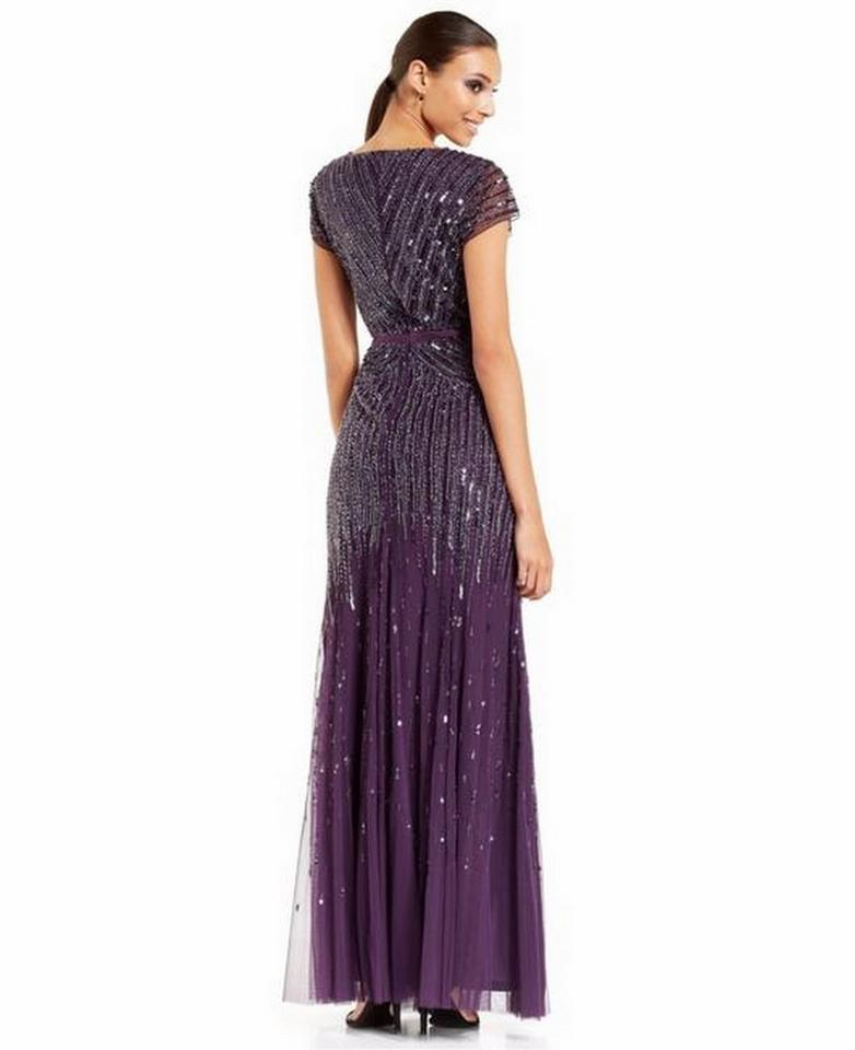 c7509610f25 Adrianna Papell Amethyst Polester V-neck Long Beaded Gown Modern Bridesmaid/Mob  Dress Size. 1234