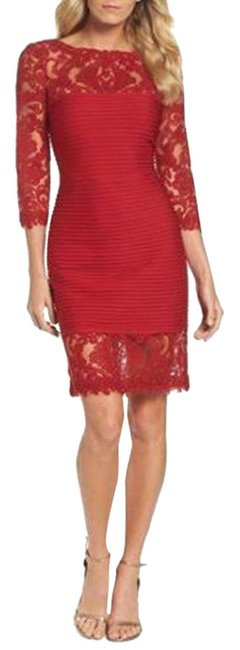 Item - Red Illusion Sheath Small Mid-length Cocktail Dress Size 6 (S)