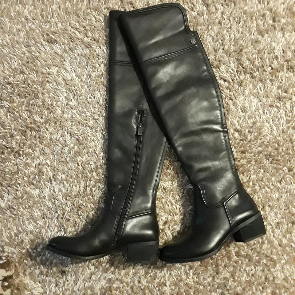 c4338cbdbc1 Vince Camuto Black Leather Over The Knee Boots Booties Size US 4.5 ...