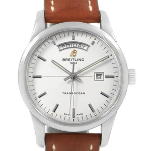 Breitling Breitling Transocean Silver Dial Steel Mens Watch A45310 Box Papers