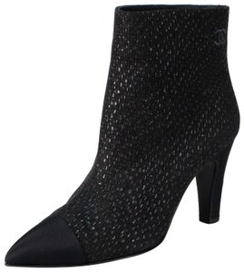 Chanel Cap Toe Embroidered Sparkles Black Boots