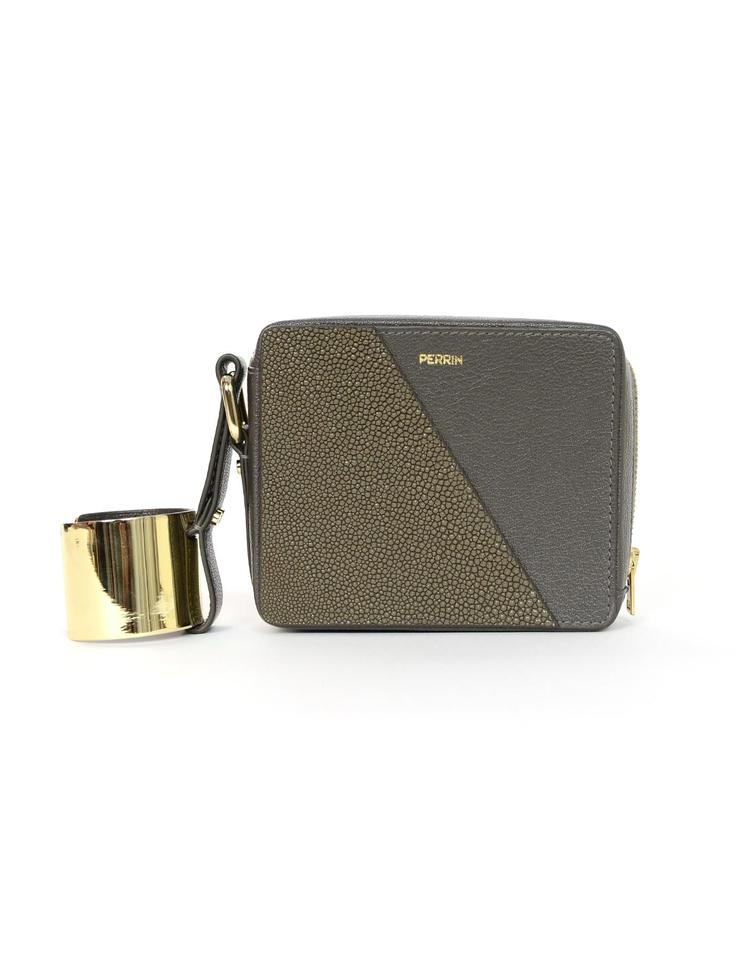 aeec2ce2871 Perrin Paris Stingray/Chevre with Gold Cuff Grey Leather Wristlet ...