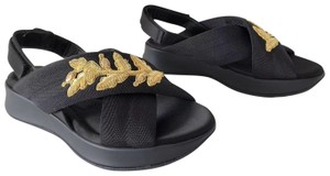 Burberry Actonshire Godwork Floral Gold Black Sandals