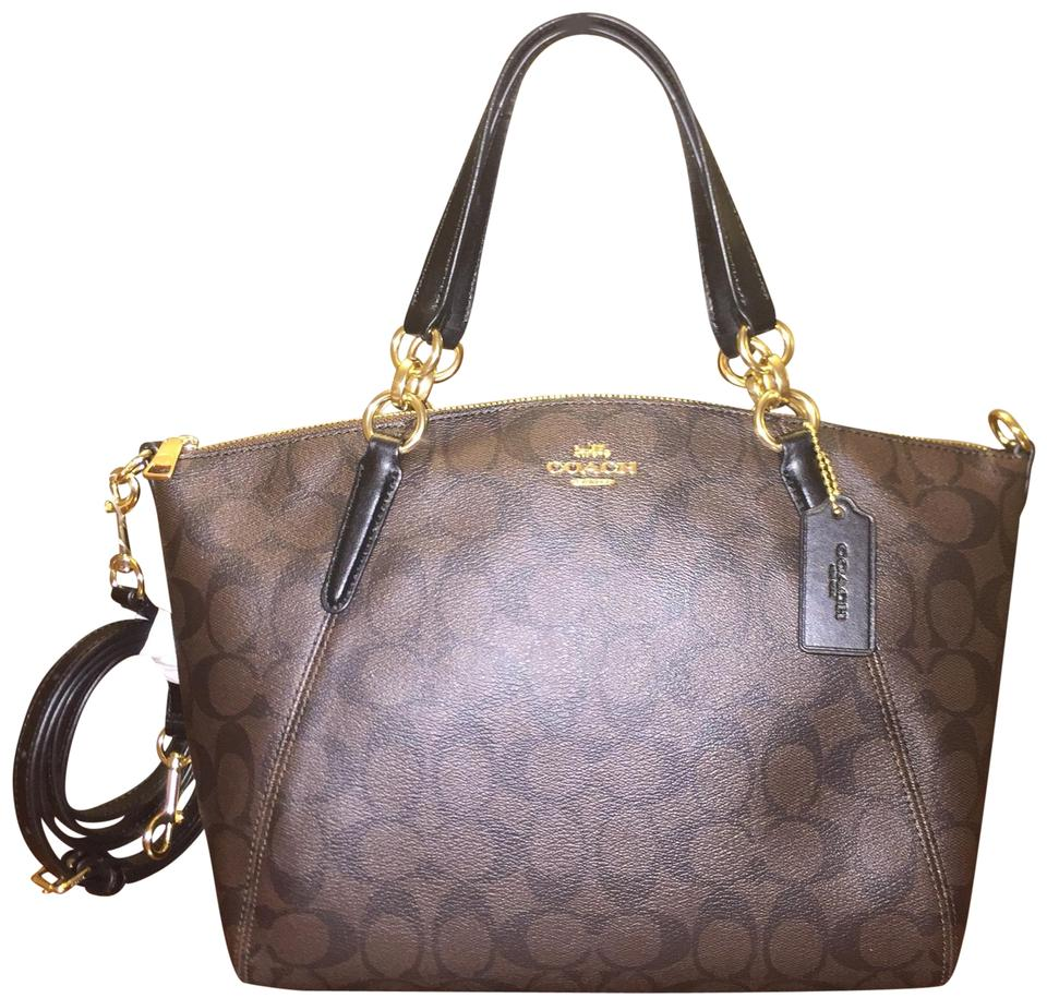 8dbe472f496c9 Coach Kelsey Small In Signature Brown Black Coated Canvas Satchel ...