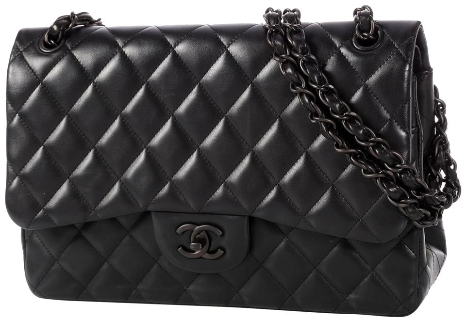 a1a4858dce51 Chanel Classic Flap Classic Jumbo Double Rare Limited Edition So Black  Lambskin Leather Shoulder Bag