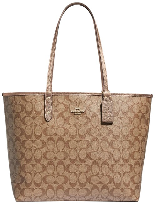 Item - City Reversible Signature Large Tote with Travel Pouch Khaki Rose Gold Pvc Laptop Bag