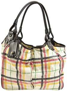 Burberry Nova Check Leather Shoulder Tote in Brown