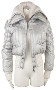 Just Cavalli Apres European Snap Buttons Cable Knit Puffer Coat