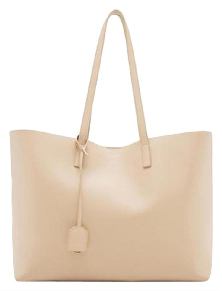 64a39e9540e Saint Laurent Monogram Shopping Shopper Beige Leather Tote - Tradesy