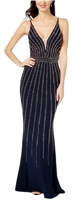 Item - Navy/Rose Gold Beaded V-neck Gown Navy/Rose Long Formal Dress Size 8 (M)
