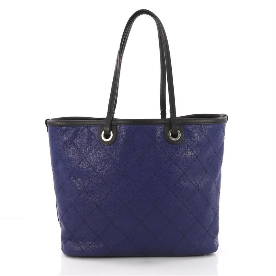 00dcb00f4e01 Chanel Fever Quilted Caviar Medium Blue Leather Tote - Tradesy