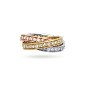 Cartier Cartier 18K White, Yellow and Rose Gold Diamond Trinity Ring Size: 5