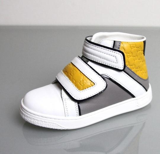 Gucci White/Gray/Yellow Kids Leather Coda Pop High-top Sneaker G 32/ Us 1 301353 301354 Shoes