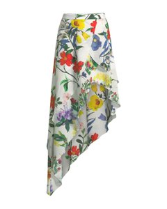 Alice + Olivia Silk Hi Lo Floral Skirt Multi
