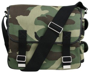 Saint Laurent Ysl Green/Brown Camouflage Canvas Green/Tan/Brown Messenger Bag