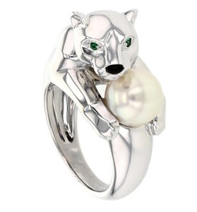 Cartier Cartier 18K White Gold Emerald Pearl Panther Ring Size6