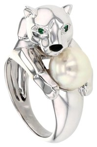 5258c95efa576 Cartier White 18k Gold Emerald Pearl Panther Size6 Ring - Tradesy