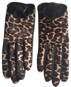 INTERMIX leopard and leather gloves