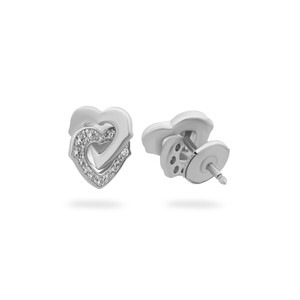 Cartier Cartier 18K White Gold Diamond Interlocking Hearts Earrings