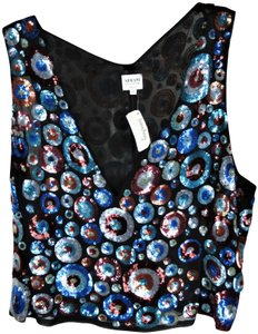 Armani Collezioni Evening New With Tags Silk & Sequin Top Black Blue Burgundy