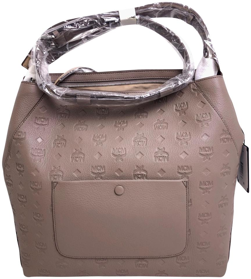 b077850d2c20 MCM Klara Large Monogrammed Urban Taupe Leather Hobo Bag - Tradesy
