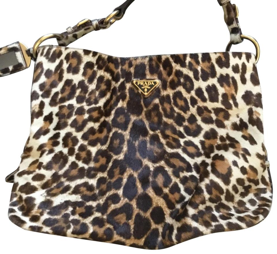 ad577fd79edf Prada Leopard and Matching Card Case Calf Hair Hobo Bag - Tradesy
