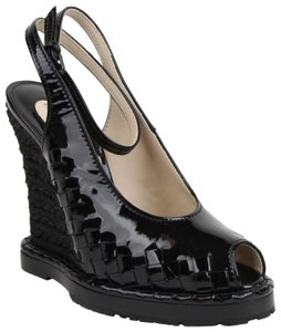 d27df6a426f3ee Bottega Veneta Women s Patent Leather Straw Black Wedges