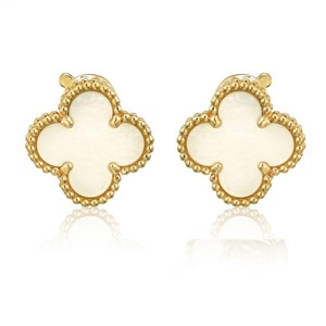 Van Cleef & Arpels Mother Of Pearl Clover 18K Yellow Gold Vintage Alhambra Earrings