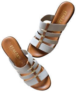 Italian Shoemakers Sandals Minimalist Classic Classic Sandals Brown and Gray Wedges