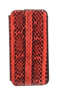 MCM MCM Red Snakeskin Leather Flap iPhone Case