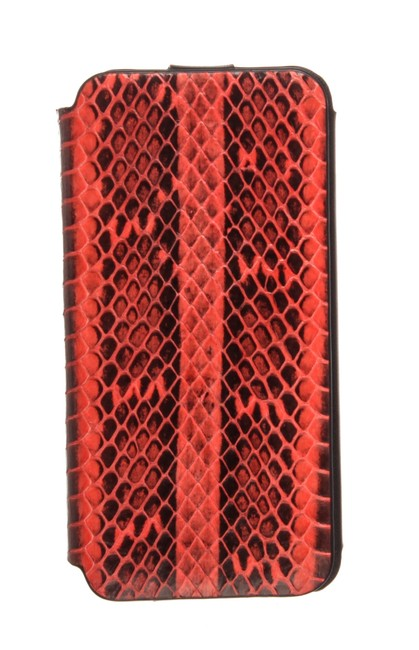 Item - Red Snakeskin Leather Flap Iphone Case Tech Accessory