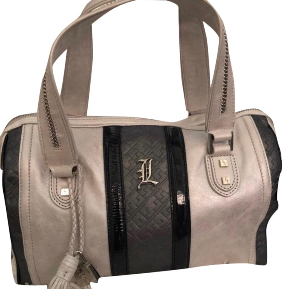 8d6212dadfc1 L.A.M.B. Satchel in washed Silver trimmed in black patent leather ...