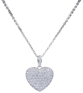 Diamond Pendant Necklace Micro Pave Round Diamond Heart Pendant 3.00 tcw Necklace in 18k White