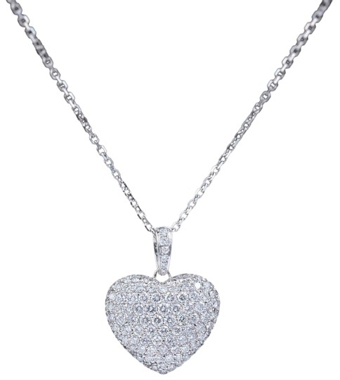 Diamond Pendant Necklace Micro Pave Round Diamond Heart Pendant 3.00 tcw Necklace in 18k White Image 0