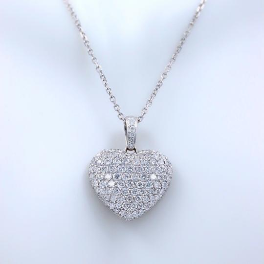 Diamond Pendant Necklace Micro Pave Round Diamond Heart Pendant 3.00 tcw Necklace in 18k White Image 1