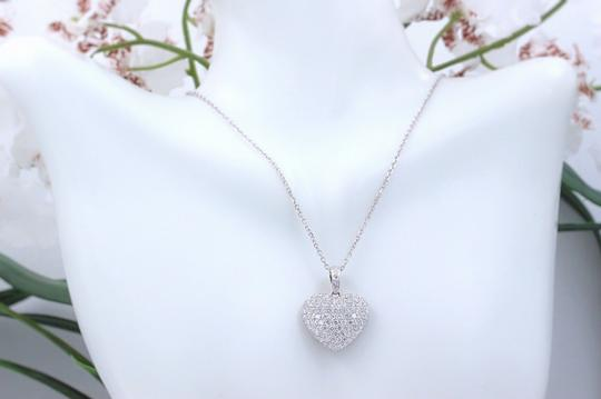 Diamond Pendant Necklace Micro Pave Round Diamond Heart Pendant 3.00 tcw Necklace in 18k White Image 2