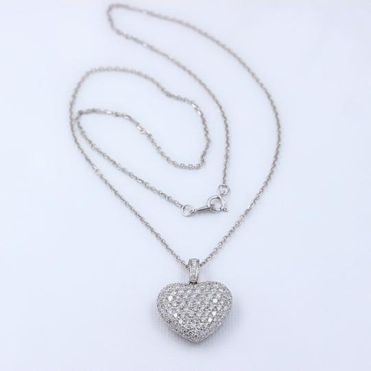 Diamond Pendant Necklace Micro Pave Round Diamond Heart Pendant 3.00 tcw Necklace in 18k White Image 3