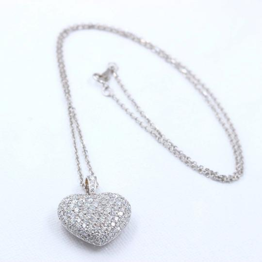 Diamond Pendant Necklace Micro Pave Round Diamond Heart Pendant 3.00 tcw Necklace in 18k White Image 4