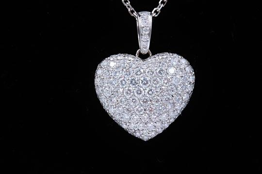 Diamond Pendant Necklace Micro Pave Round Diamond Heart Pendant 3.00 tcw Necklace in 18k White Image 5